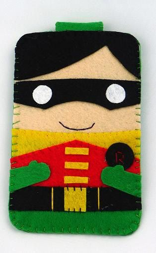 Hero collection Robin Batman Handmade felt phone case por MyOwnDoll