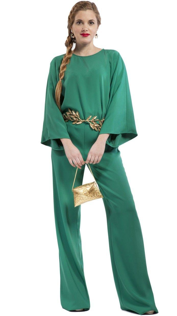 PANTALÓN de talle alto color verde fabricado en España. Perfecto ...