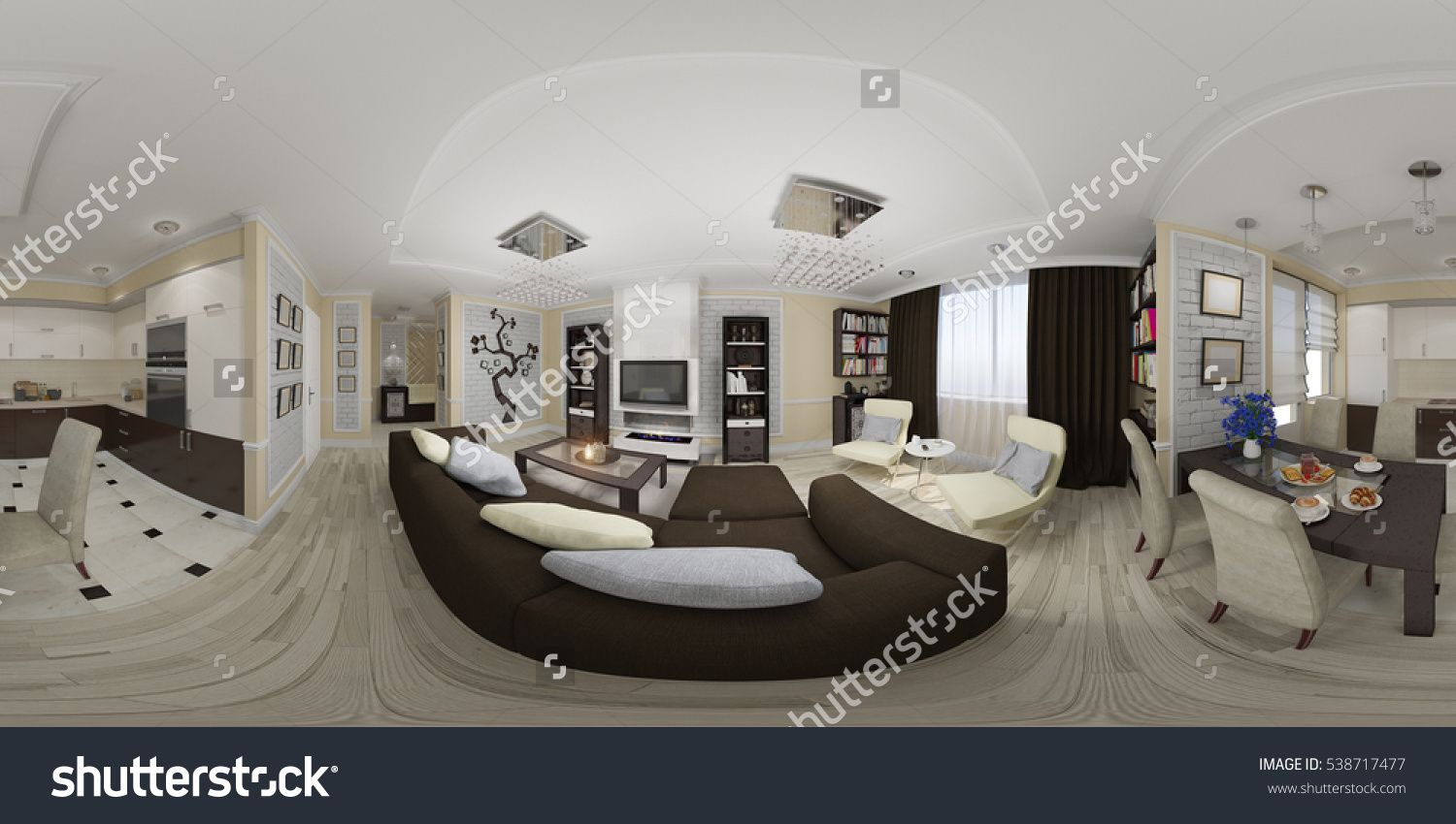 3d Illustration Spherical 360 Degrees Seamless Panorama Of Living