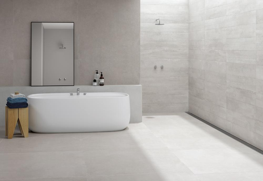 Concrete Slabs Glazed Polished Porcelain In 2020 Concrete Slab Bathroom Flooring Stone Tile Flooring