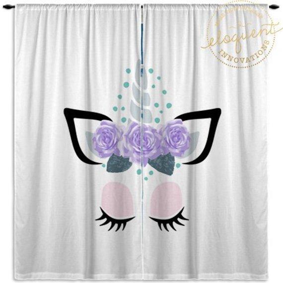 Unicorn Curtains - Pink & Purple - Window Curtain Panels ...