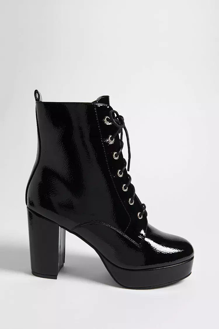 8c9524f0a Product Name Textured Faux Patent Leather Combat Boots