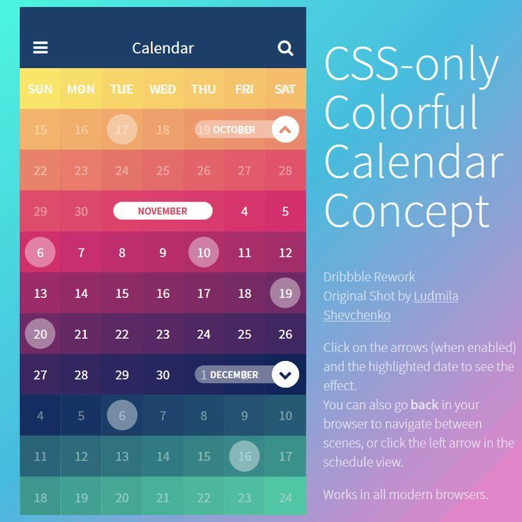 Css only colorful calendar concept coding code css3 snippets web css only colorful calendar concept coding code css3 snippets web design resource animation web development saigontimesfo