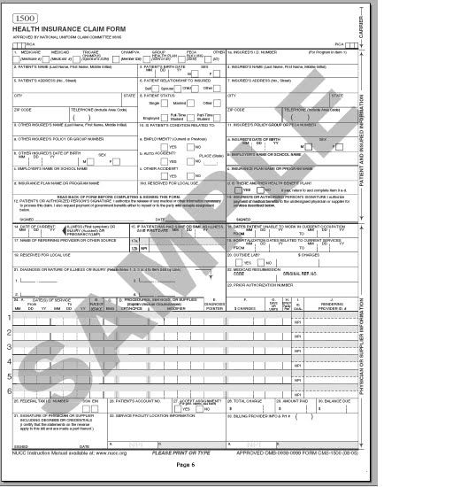 CMS 1500 form - sample School Pinterest - school medical form