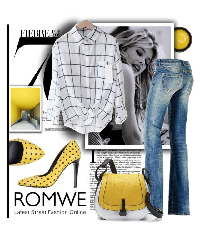 """""""Romwe Plaid Black Blouse"""" by parkersam76 ❤ liked on Polyvore featuring de Mamiel, GUESS, Nico, Emanuel Ungaro and Fabiola Pedrazzini"""