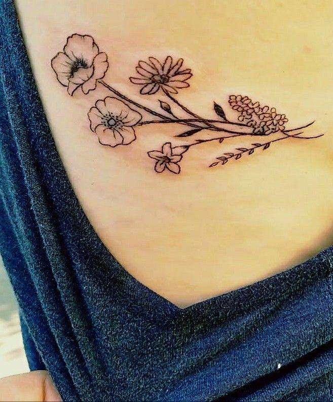 b28b6669a Wildflower tattoo Bellflower, Cherokee Rose, Poppy, Daisy, Lilac  #wildflowertattoo #tinytattoo