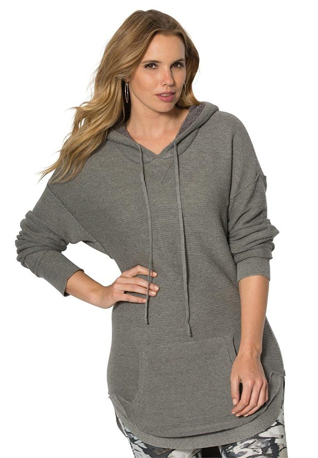 Roamans Women's Plus Size Hooded Sherpa Lined Sweater Tunic * This is an  Amazon Affiliate link