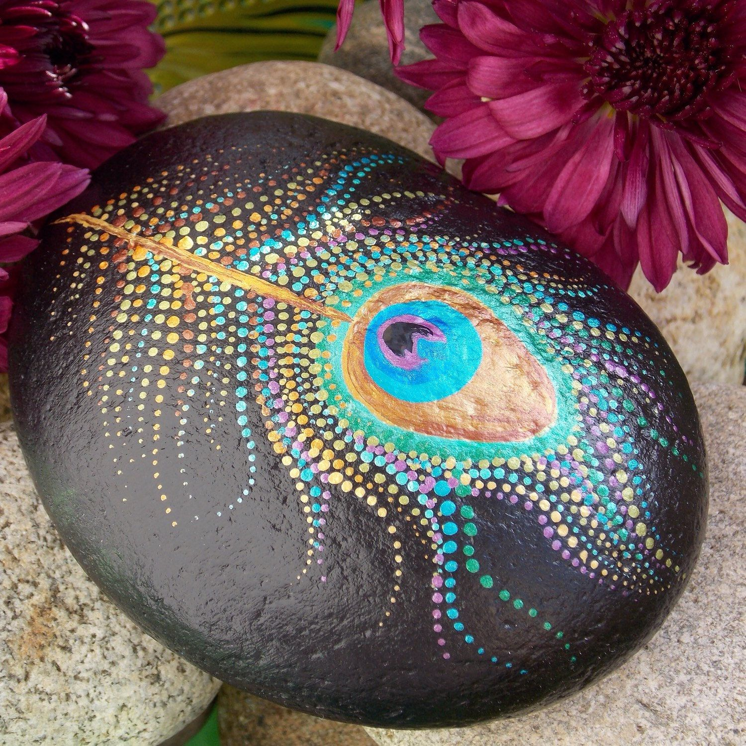 Peacock Feather Painted Stone Dot Painting Feather Meditation