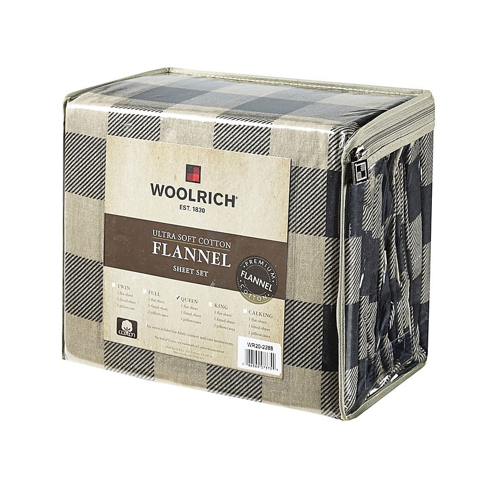 Woolrich Buffalo Check Flannel Queen Sheet Set In Tan