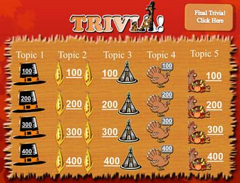 Trivia Thanksgiving Template  JeopardyLike Review Game  Trivia