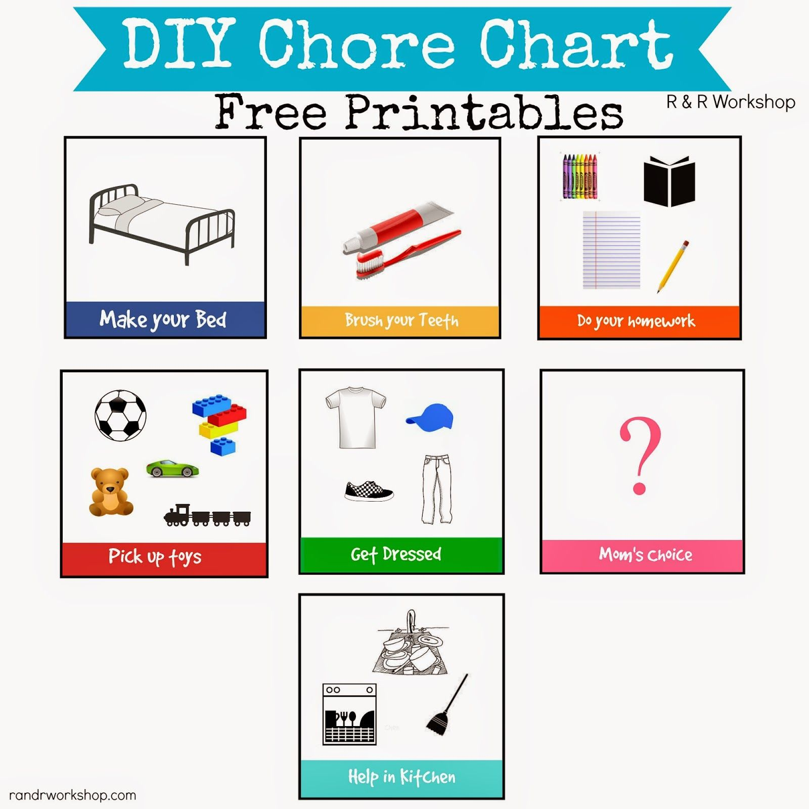 Colored Chore Chart For Kids Free Printables  Free Printables