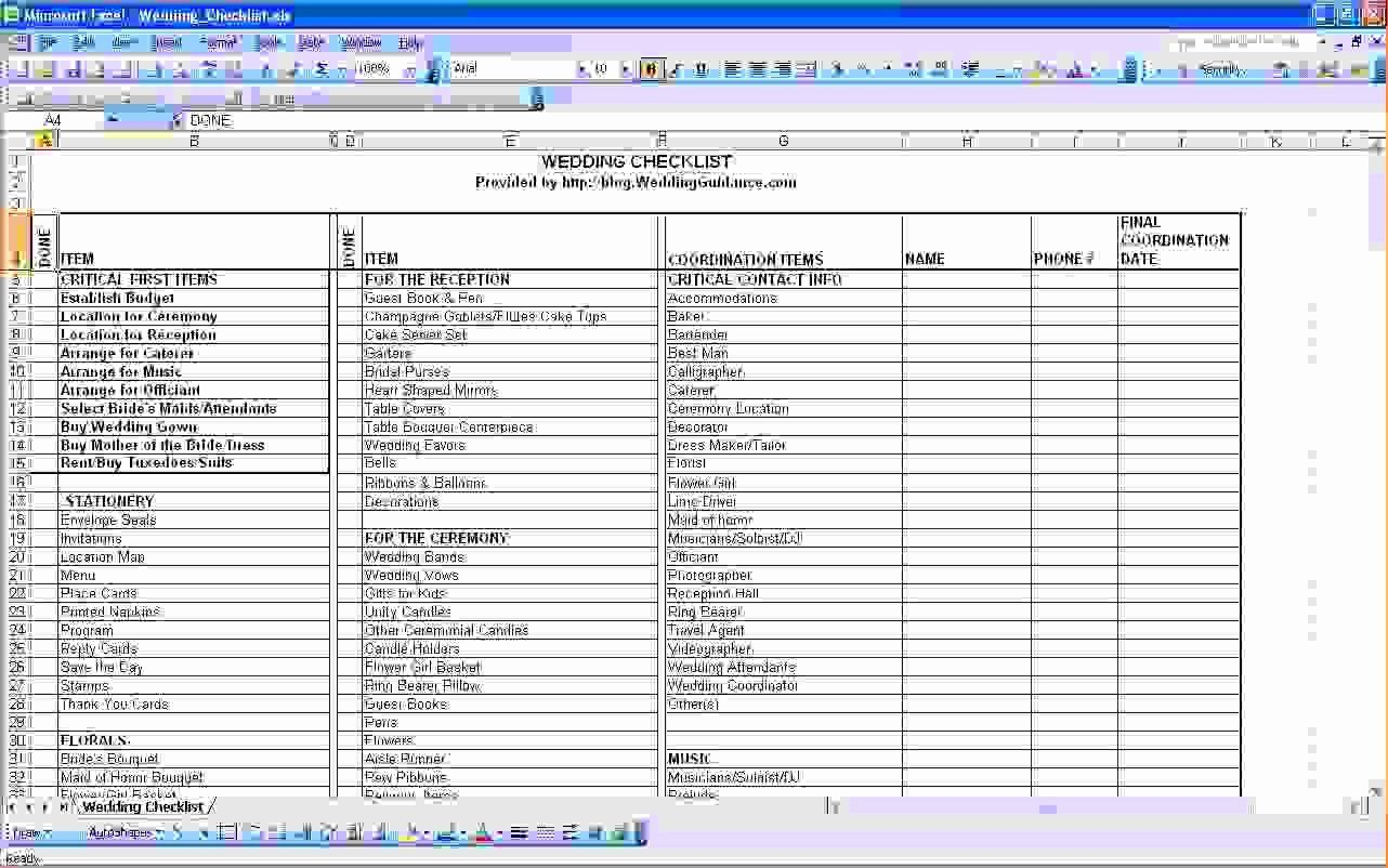 Wedding Project Plan Excel Best Of Wedding Cost Checklist
