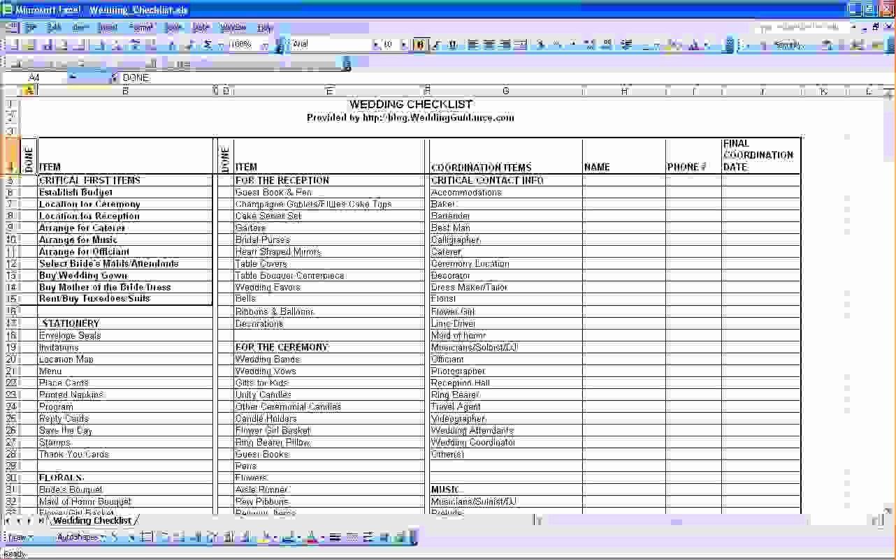 Wedding Checklist Excel Guest List Wedding guest list