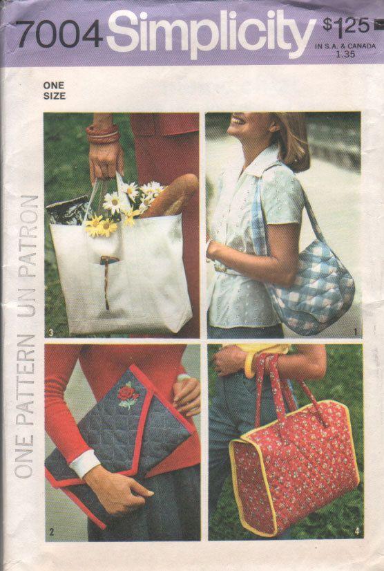 Tote Bag Sewing Pattern 70s Vintage Purses Set of Bags Shoulder Bag ...