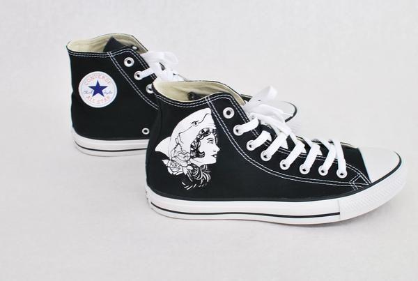bca20b0e976062 Black Converse Hi Top - Macklemore Shark Face Gang Theme - B Street Shoes