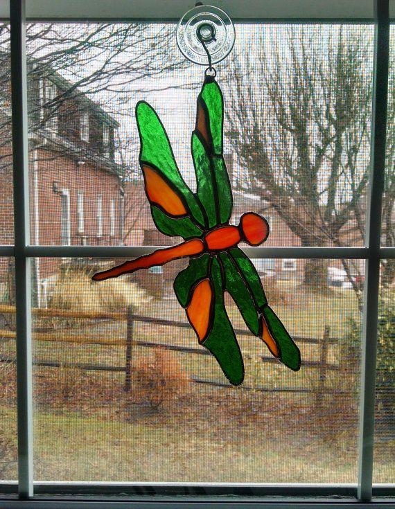 Stained Glass Dragonfly Suncatcher  Orange by StainedGlassYourWay