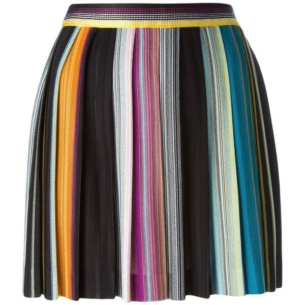 Missoni pleated stripe skirt (1 066 AUD) ❤ liked on Polyvore featuring skirts, black, striped pleated skirt, multi colored skirt, multicolor skirt, missoni and colorful skirts