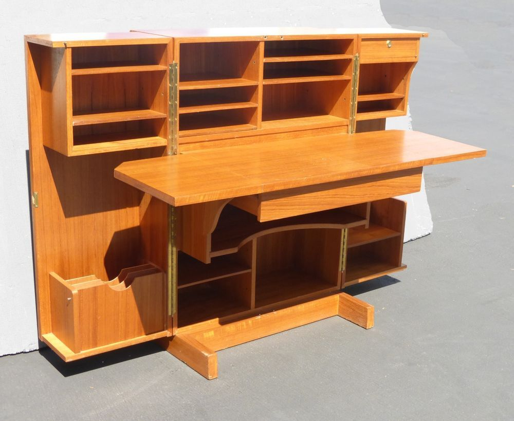 Modern Filing Cabinet Vintage Mid Century Modern Style Folding Desk Hide Away Filing