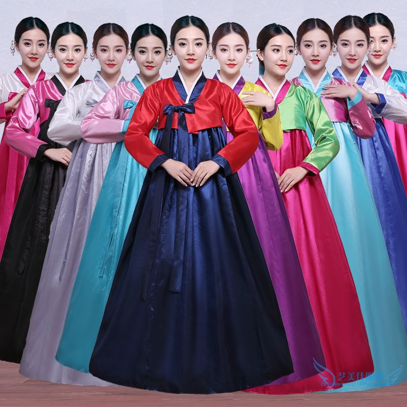 High Quality Multicolor Traditional Korean Hanbok Dress Female Korean Folk  Stage Dance Costume Korea Traditional Costume c8b364bdafd6