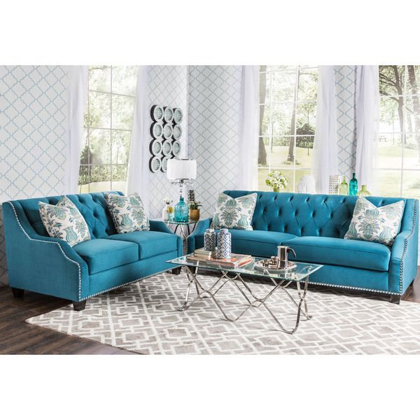 furniture of america elsira premium velvet 2 piece cerulean blue sofa set overstock shopping - Blue Living Room Set