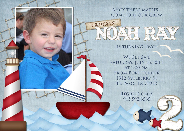 Nautical Birthday Invitation | A.J. bday | Pinterest