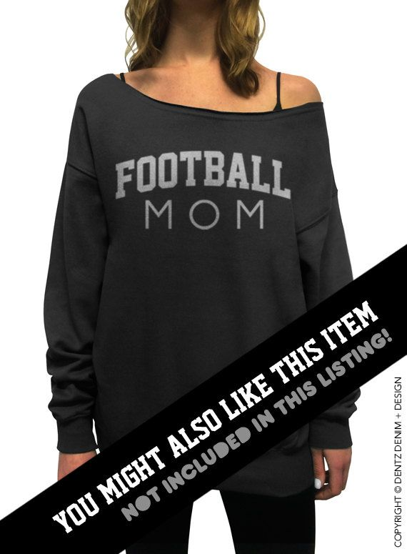 Football Mom White with Silver Slouchy Oversized by DentzDesign