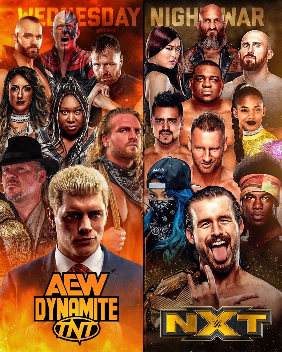 Wtfgfx On Instagram The Wednesday Night War Is Almost Upon Us Aew Vs Nxt I M Ready For Both Wrestling Posters Wrestling Wwe Wrestling Superstars