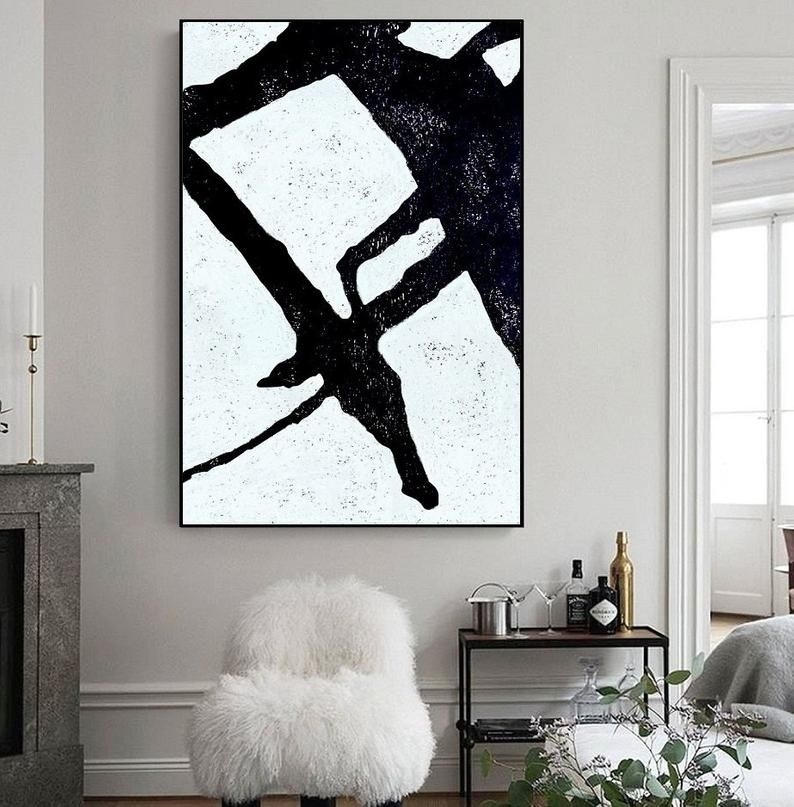 Large Minimalist Painting Original Art Black White Canvas Abstract Art Living Room Wall Art Modern Office Decor Painted By Alex Speshilov