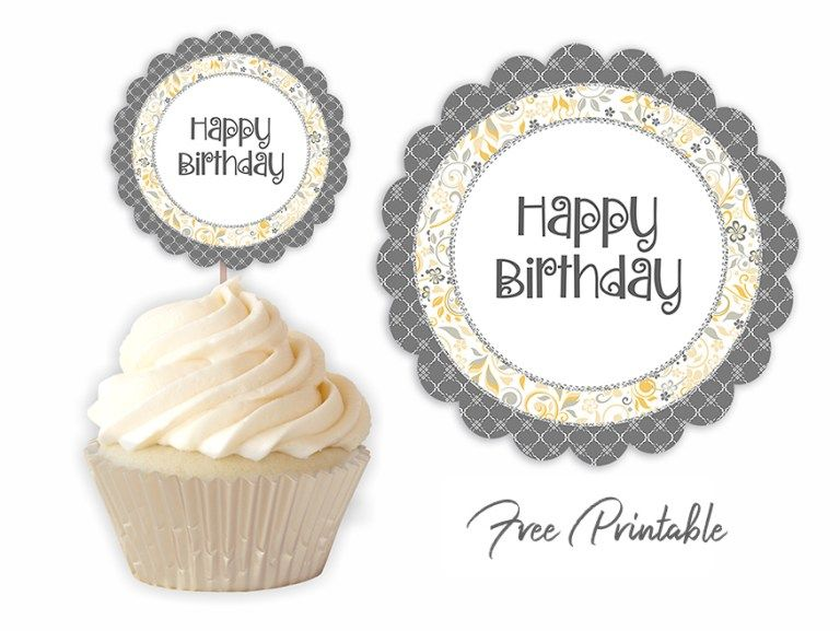 Birthday party printable yellow grey in 2020 cupcake