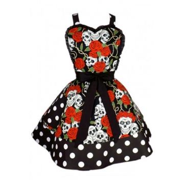 """Skull and Roses"" Two Tier Apron by Hemet (Black/Red) #InkedShop #Skull #Roses #Apron #Red #Black"