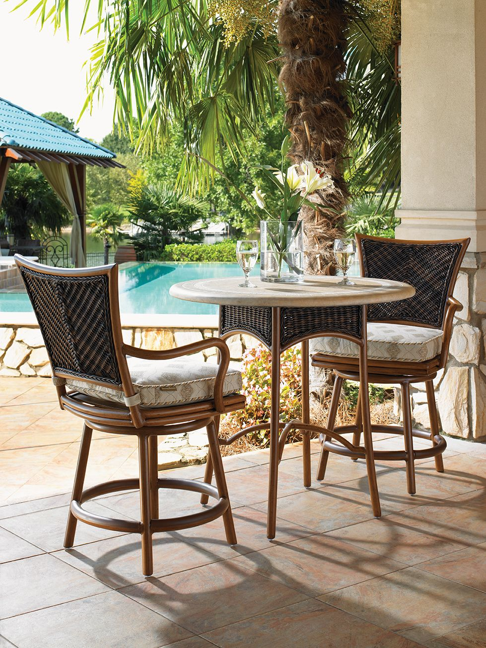 Tommy Bahama Island Estate Lanai Collection Wicker Counter Stools And Low Bistro Table
