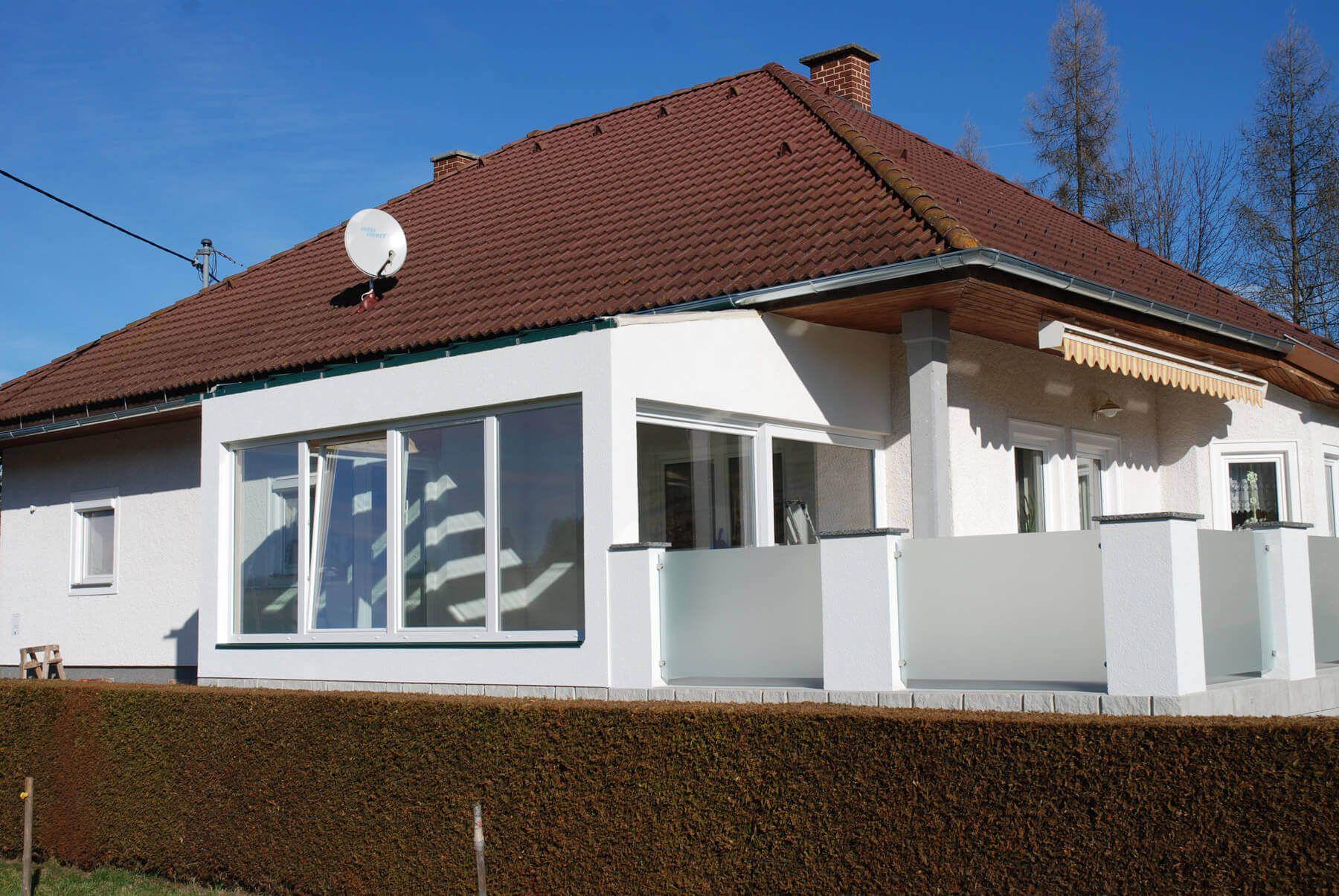 Wintergarten Fenster Kunststoff weiß Wintergarten holz