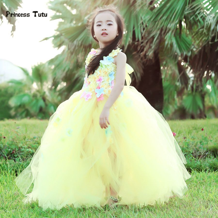 Princess belle flower fairy tutu dress kids fancy party christmas
