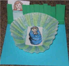 blue green paper coffee filter printer paper scissors glue stick