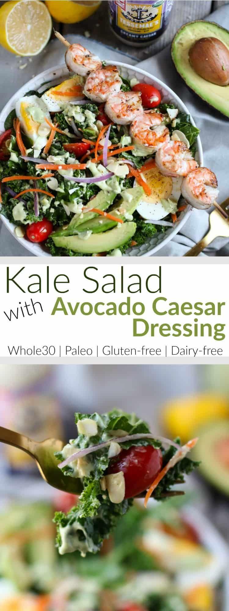 kale salad with avocado caesar dressing  recipe  kale