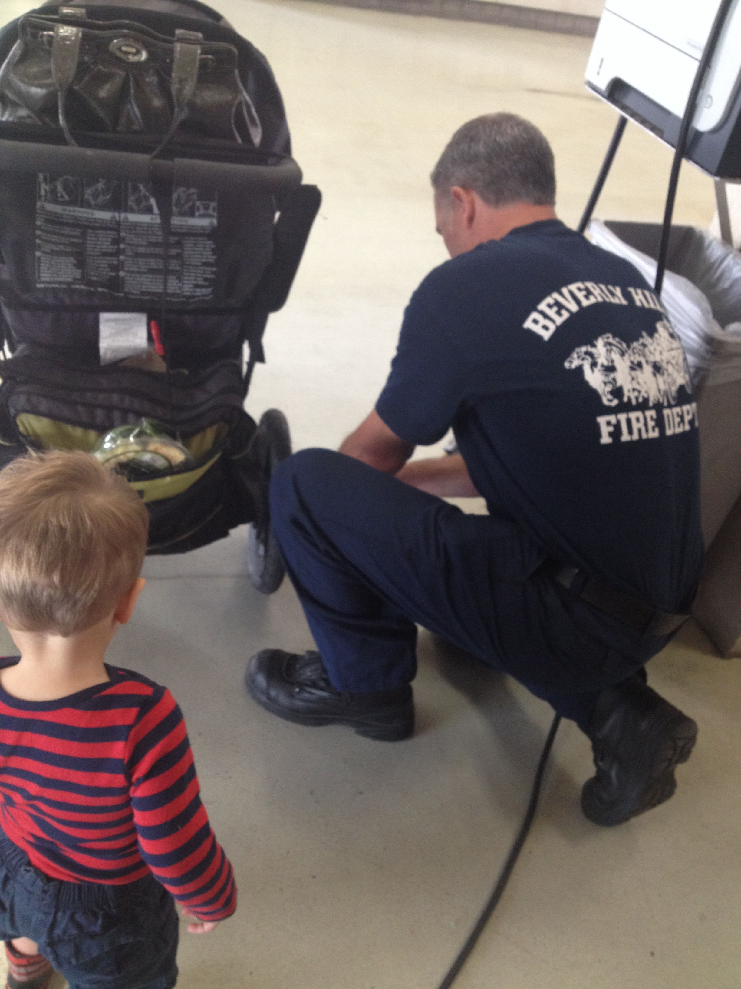 Did you know... Show up for a spontaneous tour at your local fire station, and they'll offer to fill up your stroller tires?? So sweet!! I need to go back with homemade cookies...