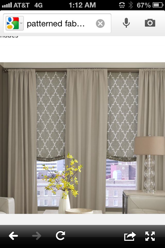 Living Room Curtains Not The Actual Themselves But Roman Shades With Full Length