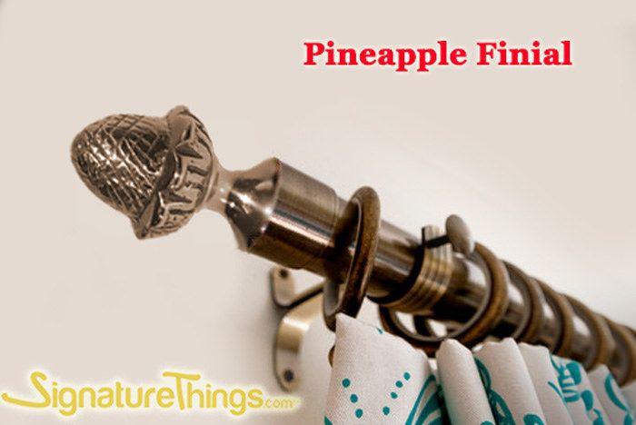 Pineapple Brass Finial Curtain Finials Brass Curtain Rods
