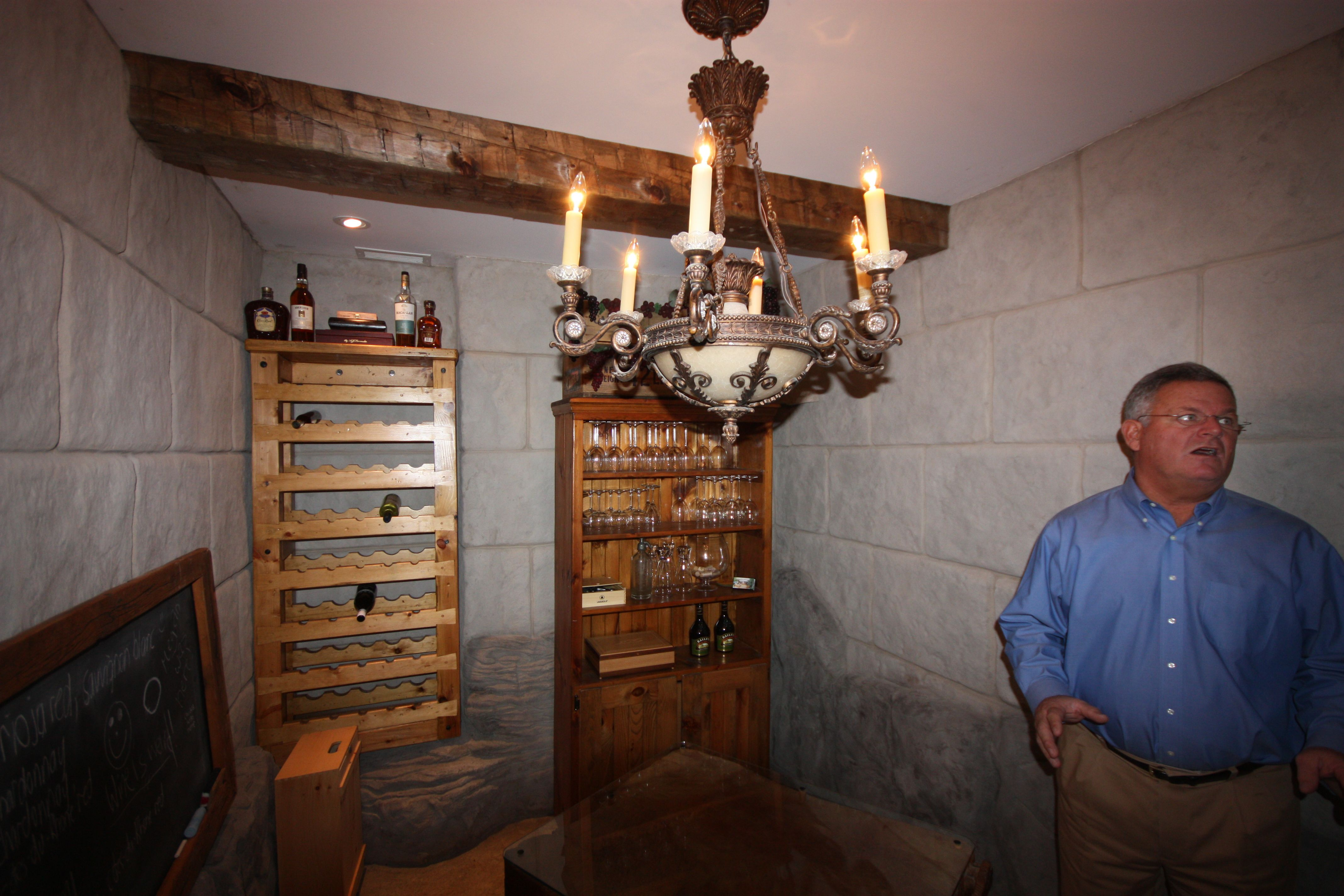 This is a very cool wine cellar we did using flexcment to look