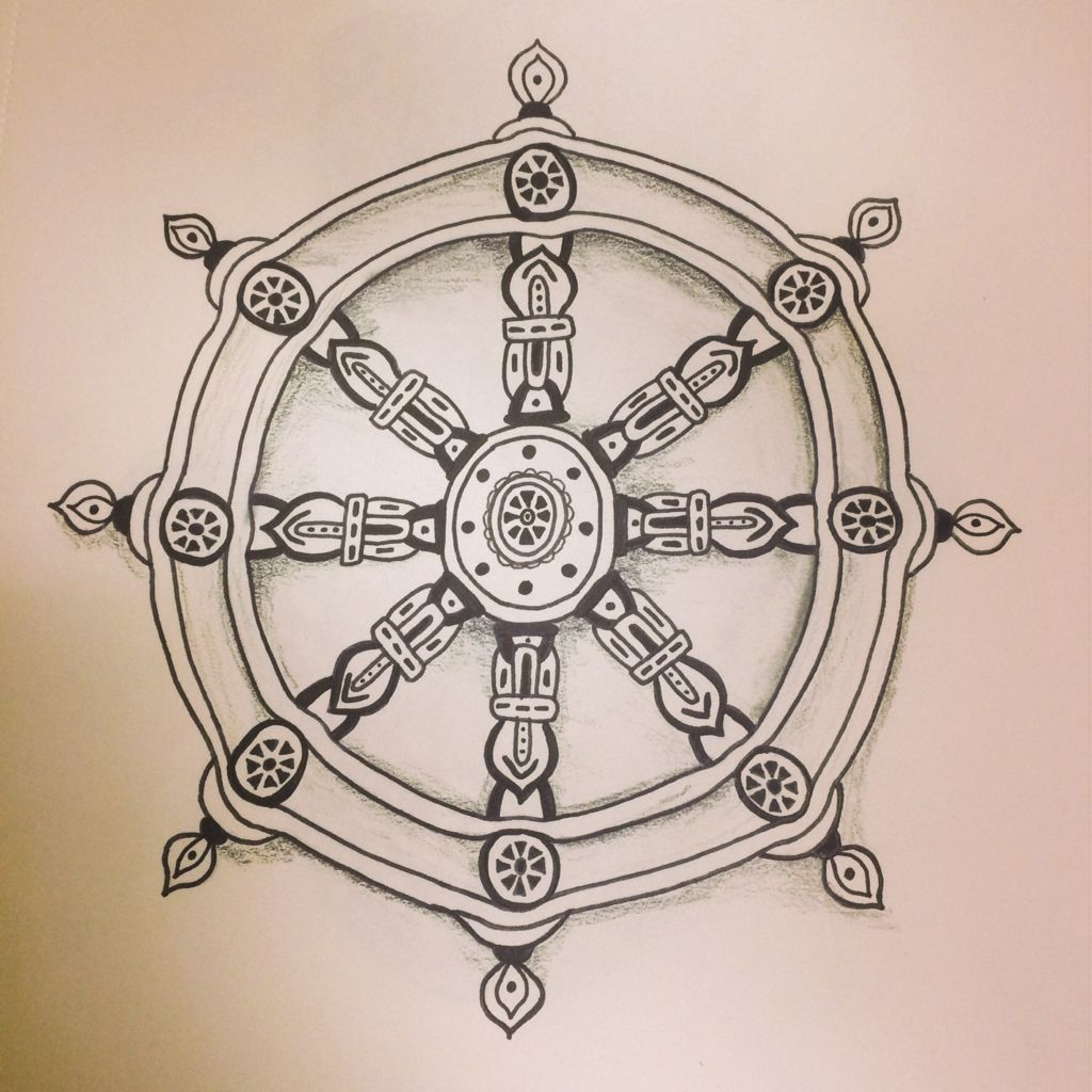 The Dharma Wheel used to represent the Noble Eightfold Path, The ...