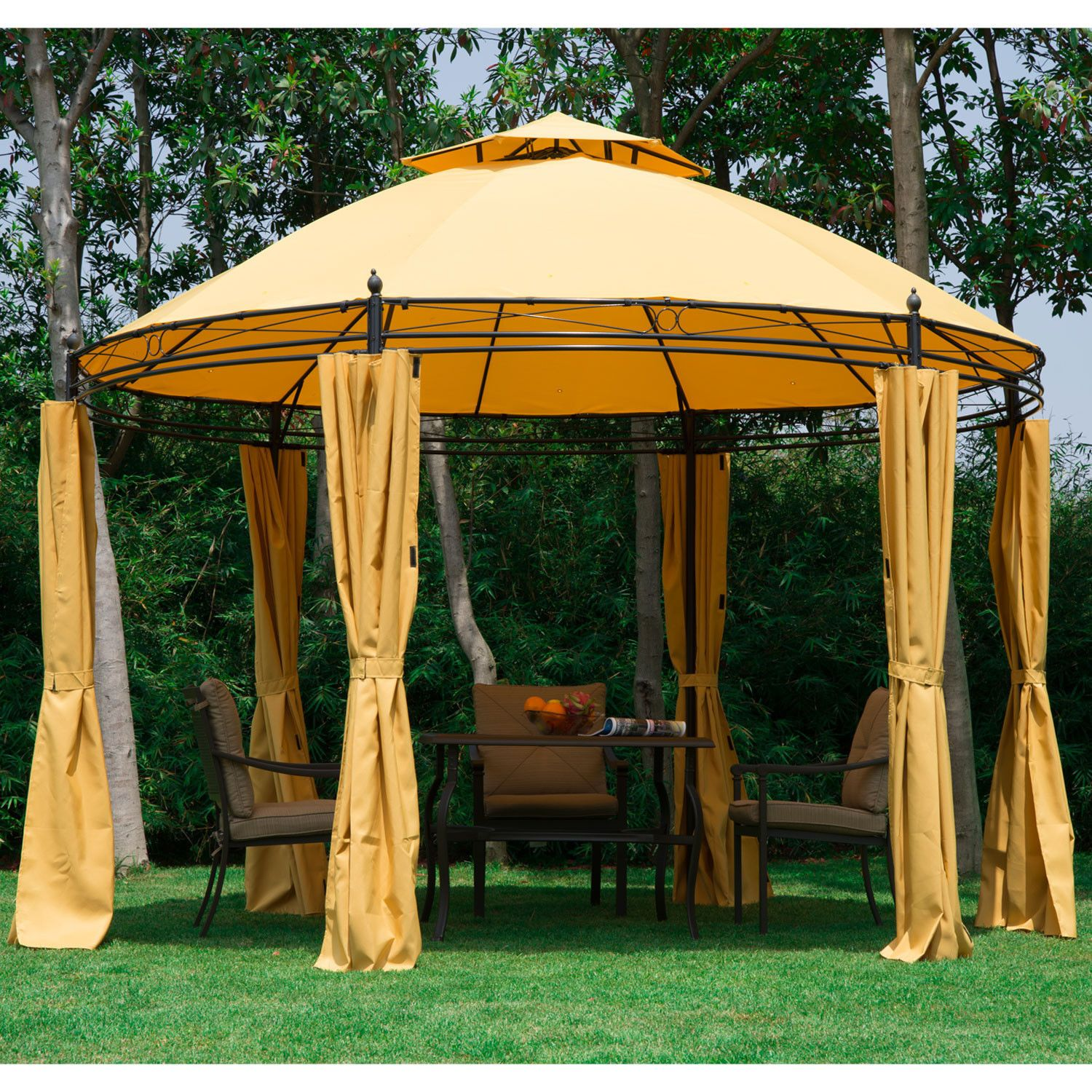 11.5FT Round Outdoor Patio Canopy Gazebo 2 Tier Roof Tent Shelter W/  Curtains | EBay