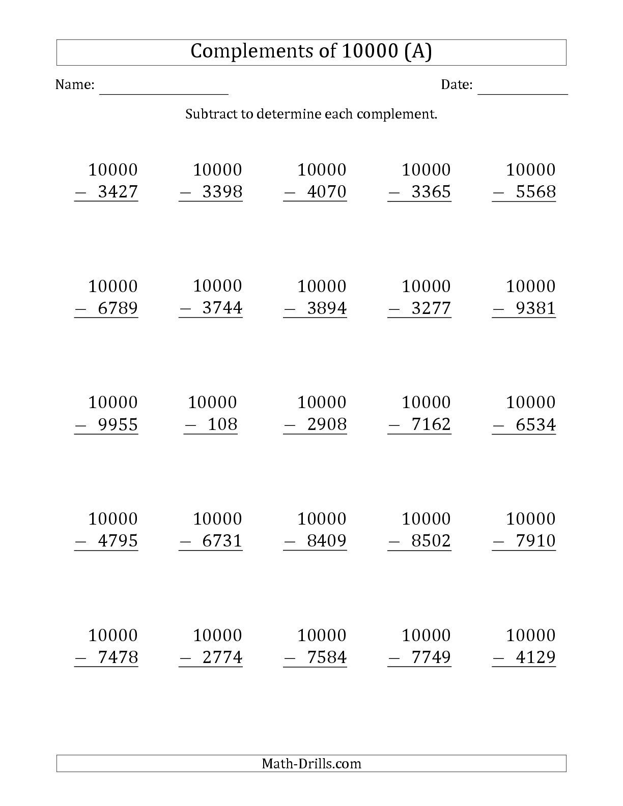 The Complements 10000 By Subtracting A Math Worksheet From The Subtraction Worksheet Page At Math Drills Subtraction Worksheets Subtraction Math Subtraction