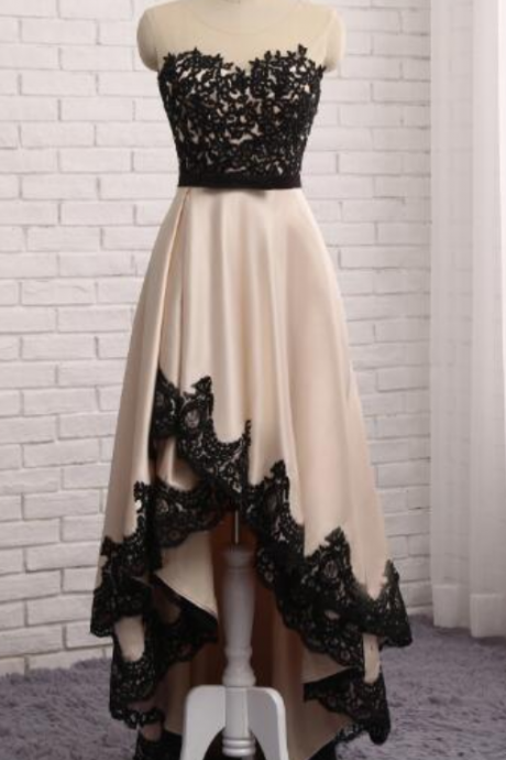 Black tulle high low long cap sleeve prom dress with gold