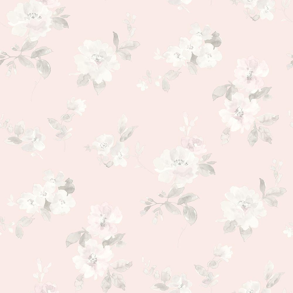 8 in. x 10 in. Captiva Light Pink Floral Toss Wallpaper Sample