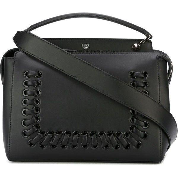 Fendi 'Fashion Show Dotcom' tote ($2,645) ❤ liked on Polyvore featuring bags, handbags, tote bags, black, leather tote, zip top leather tote, fendi handbags, leather purse and fendi tote bag