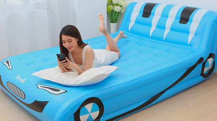 New Big Inflatable Bed Home Double Air Bed Air Mattress Thickened Portable Air Bed Outdoor Air Bed In 2020 Air Bed Inflatable Bed Air Mattress
