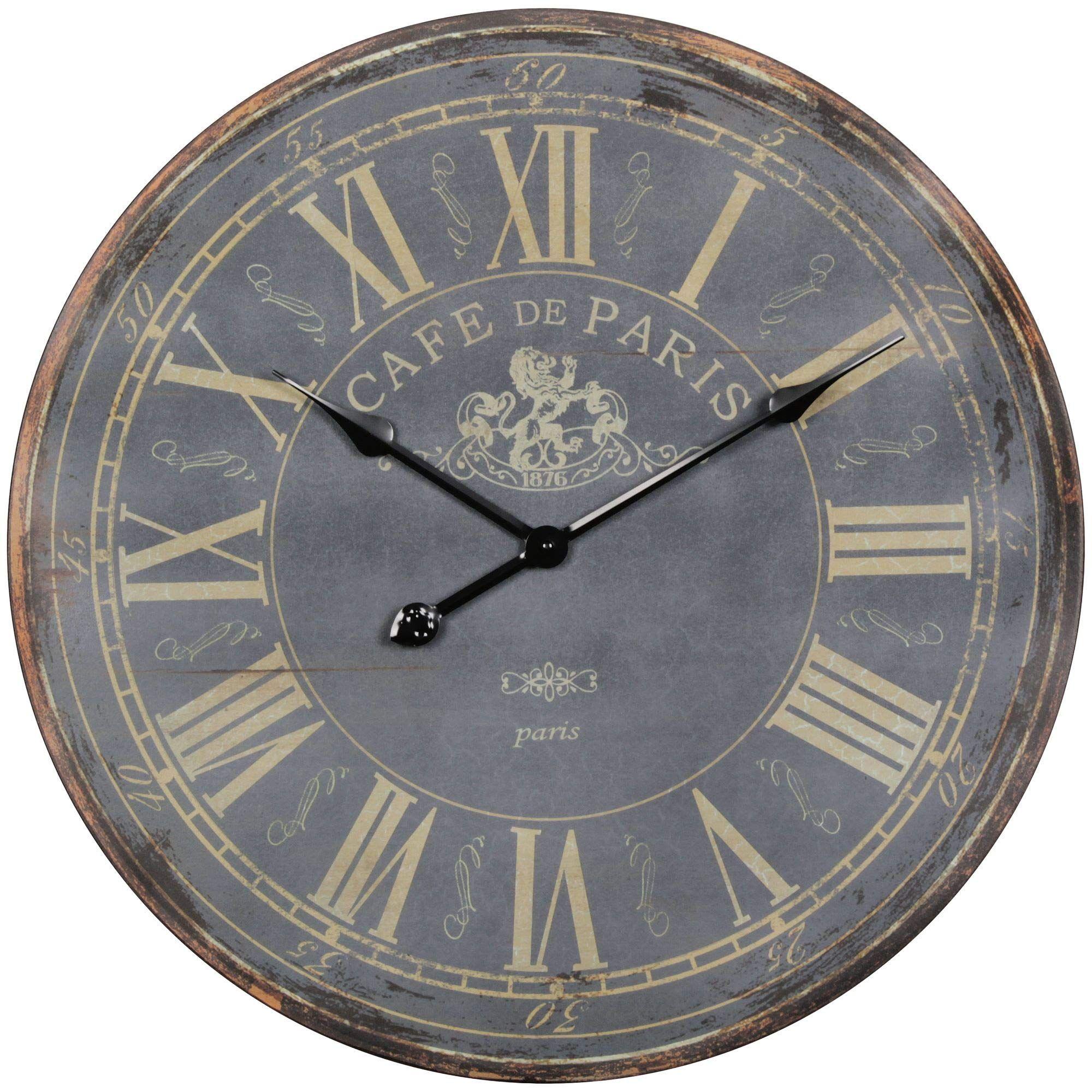 Wohnling Deko Vintage Wanduhr Xxl Ø 60 Cm Paris Holz Schwarz Römische Ziffern Große Uhr Rustikal Dekouhr Rund Designr Uhrideen Wanduhr Wanduhren Wohnzimmer