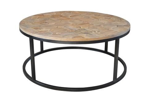 Henrietta Reclaimed Wood Parquet Round Coffee Table Style My