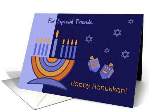 Happy Hanukkah for Friends. Menorah and Dreidels design personalized Greeting Cards. at greetingcarduniverse.com