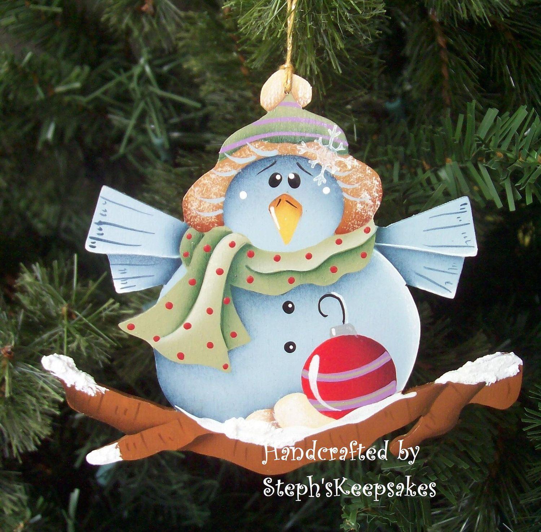 Blue bird handpainted ornament by stephskeepsakes on etsy